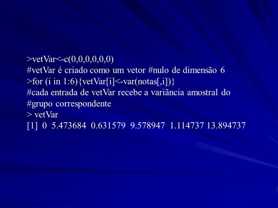 >vetVar<-c(0,0,0,0,0,0) #vetVar é criado como um vetor #nulo de dimensão 6. >for (i in 1:6){vetVar[i]<-var(notas[,i])}